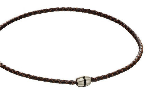 Brushed Bead Brown Leather and Steel Necklace