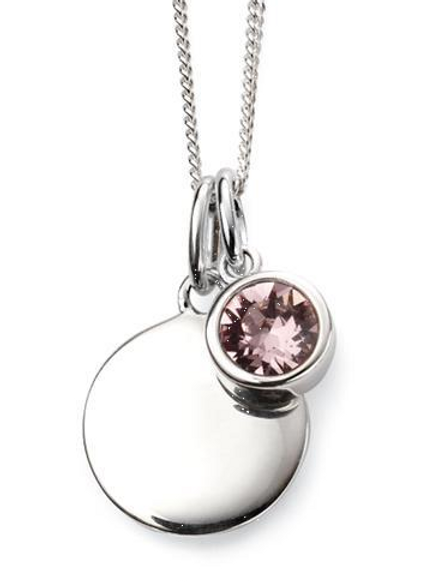 Sterling Silver June Birthstone Disc Necklace