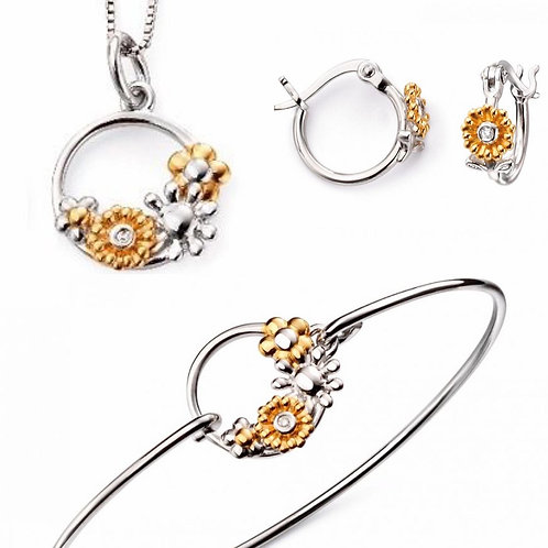 Floral Necklace, Bangle and Earrings Set
