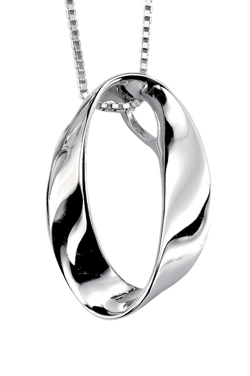 Sterling Silver Oval  Curved pendant