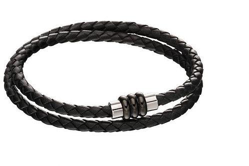 Section Tube Clasp Black Knot Leather Wrap Around Bracelet