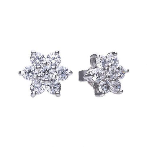 Dazzling 7 Stone Flower Cluster Earrings