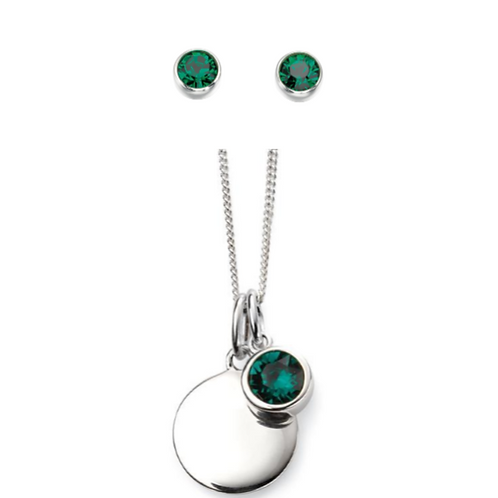 Sterling Silver May Birthstone Necklace & Earring Set