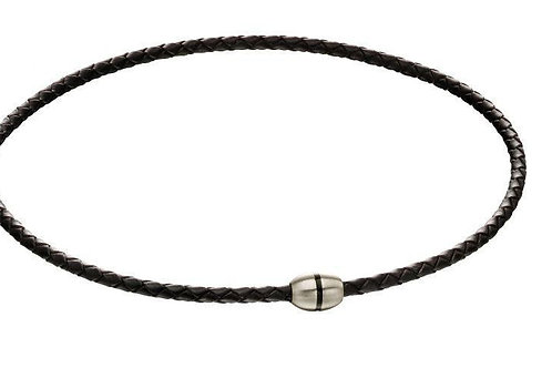 Brushed Bead Black Leather and Steel Necklace