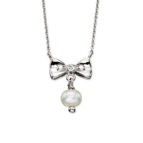 Silver and Pearl Bow Necklace