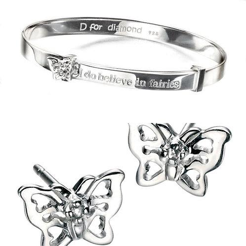 D For Diamond Butterfly - I Believe In Fairies Bangle & Earrings Set