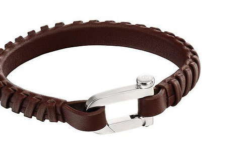 Brown Leather Bracelet with Buckle Steel Clasp by Fred Bennett