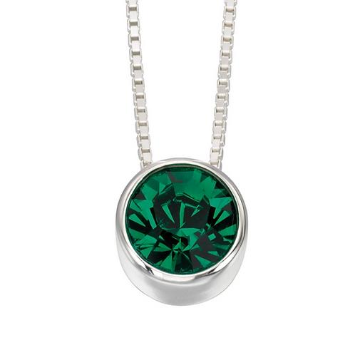 Sterling Silver Solitaire Swarovski Green pendant