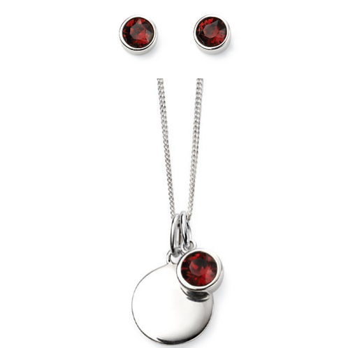 Sterling Silver January Birthstone Necklace & Earring Set