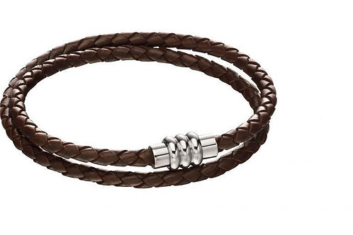 Section Tube Clasp Brown Knot Leather Wrap Around Bracelet