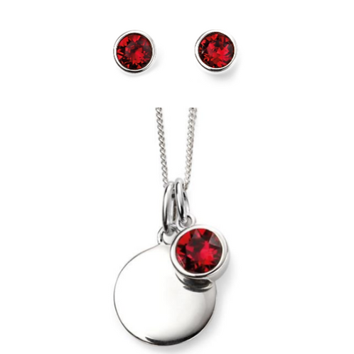 Sterling Silver July Birthstone Necklace & Earring Set