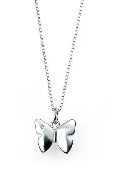 D For Diamond Silver Butterfly Necklace