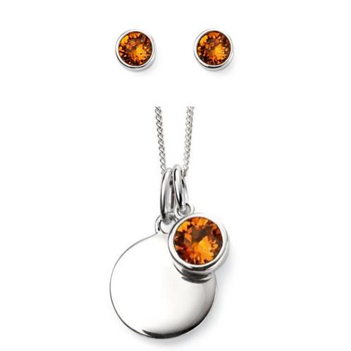 Sterling Silver November Birthstone Necklace & Earrings