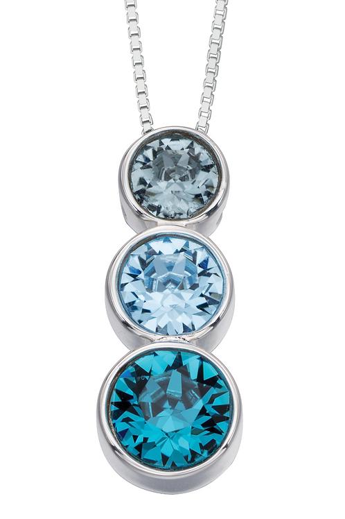 Sterling Silver Triple Swarovski Blue pendant