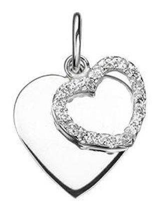 Sterling Silver Swarovski double Heart Pendant