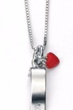 D For Diamond Sterling Silver Scroll Pendant with Enamel Heart