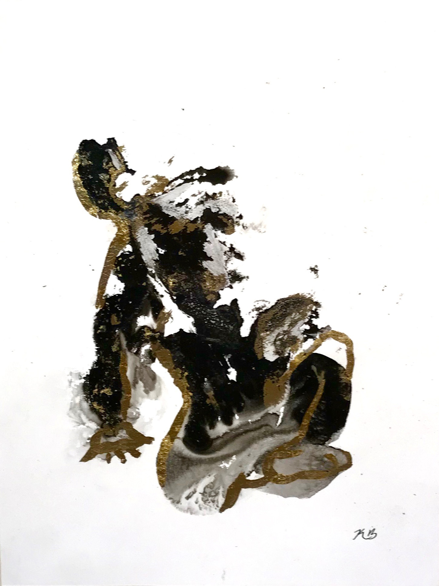 2017_Amorphous Figure 5, ink and gold le