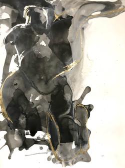 2017_Braced, ink and gold leaf on paper.