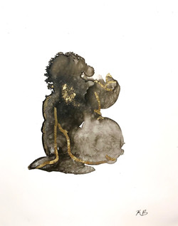 2017_Amorphous Figure 3, ink and gold le