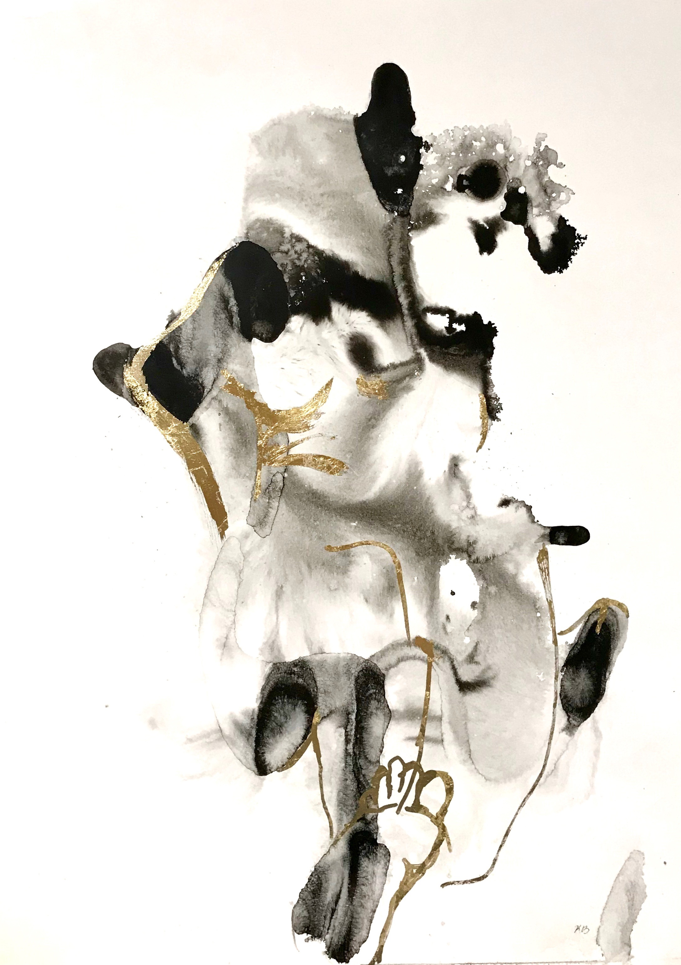 2017_Dissolving Body, ink and gold leaf