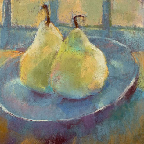 Pears with Blue and Gold
