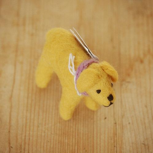 Small Yellow Felt Dog
