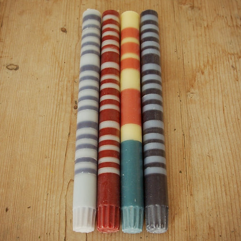 Striped  Eco Dinner Candles - 4 per pack