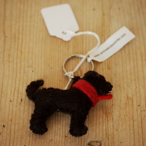 Small Black Dog Felt keyring