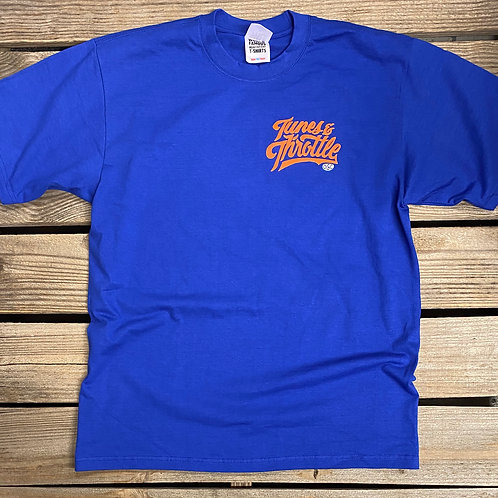 Tunes & Throttle Tee (Royal Blue/Orange)