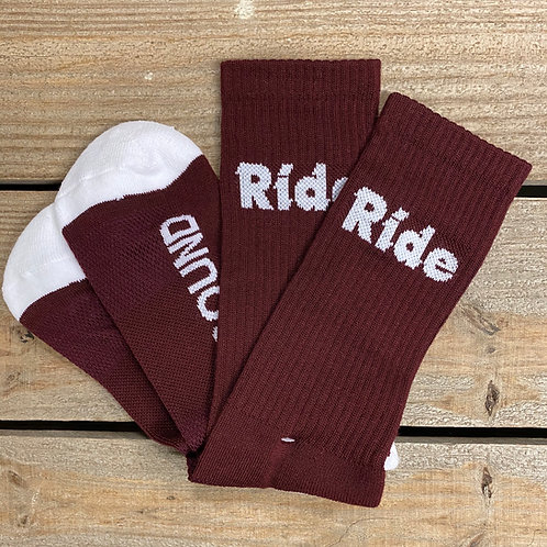 Maroon Ride Logo Cushion Socks