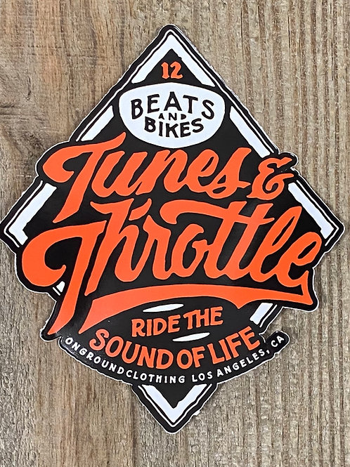 Tunes & Throttle Tool Box Sticker (Orange)