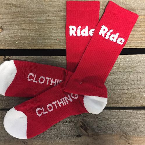 Red Ride Logo Cushion Crew Socks