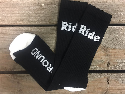 Black Ride Logo Cushion Crew Socks