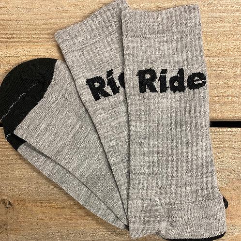 Heather Grey Ride Logo Cushion Socks