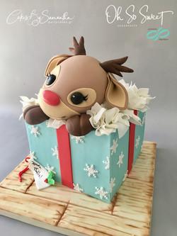 Reindeer present cake 2