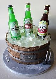 Τούρτα με μπύρες απο ζαχαρόπαστα και isomalt Beer cake