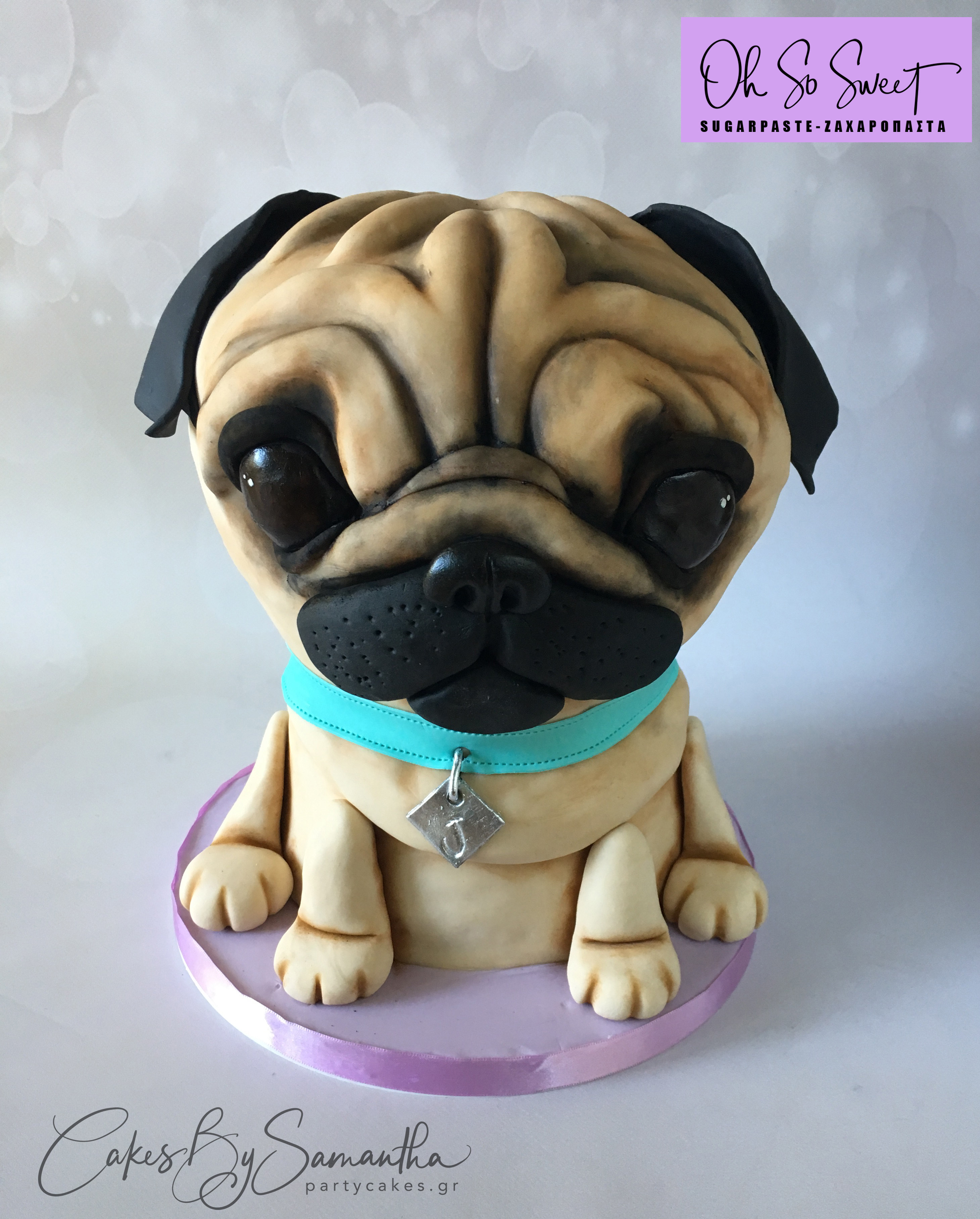 Pug 3D cake oh so sweet logo