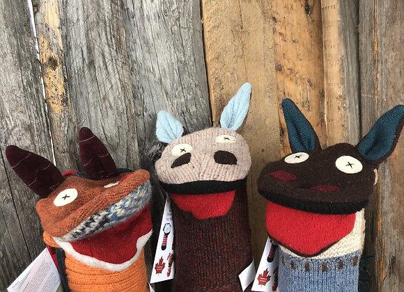 Horse wool hand puppet