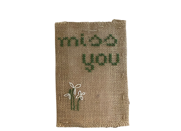 Embroidered Postcards. Miss you 1