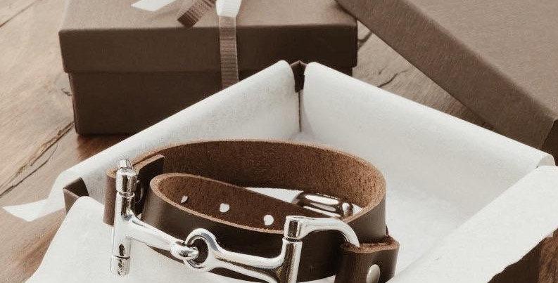 Equestrian Double Wrap Leather Horse Bit Bracelet