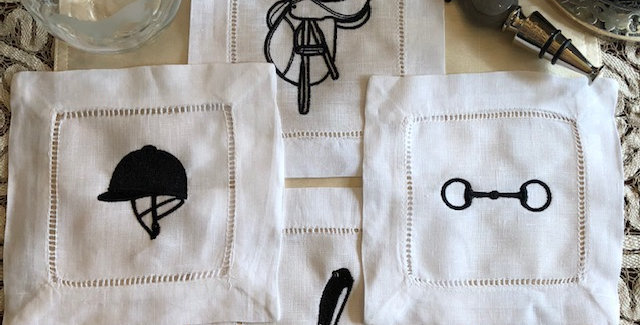 THE TACK ROOM - Embroidered Cocktail Napkins