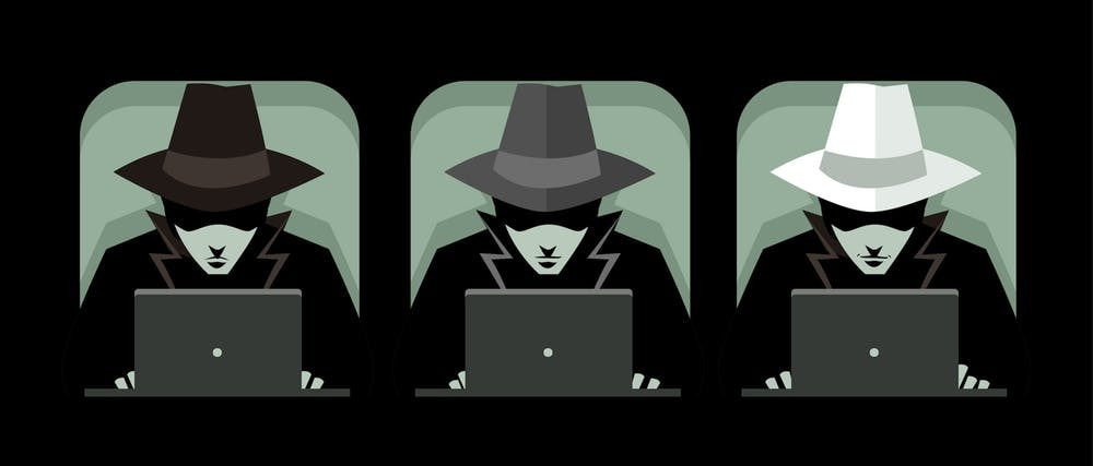 White hat, grey hat and black hat hackers