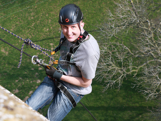 Dave Brooke abseils for the St. Richard's Hospice Foundation