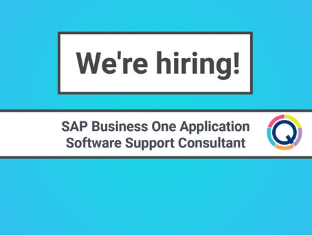 We're hiring! SAP Business One Application Software Support Consultant.