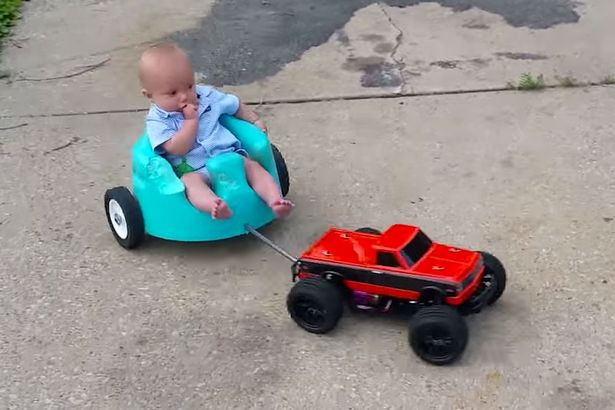 bumbo on wheels towed RC car