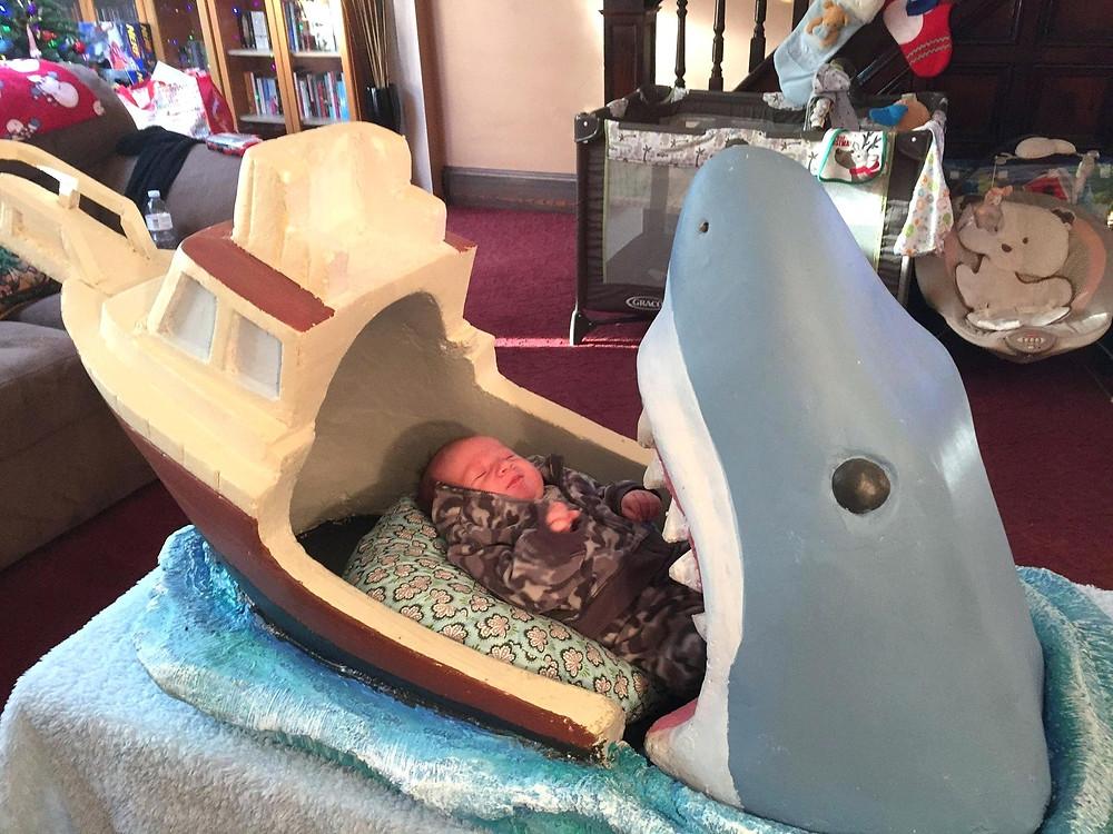 baby shark baby bassinet