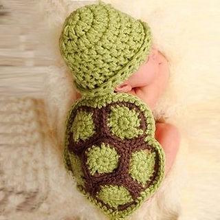 Handmade Knitted Newborn Baby Turtle Costume
