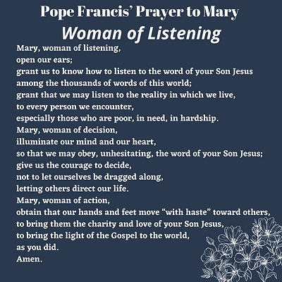 Pope Francis' Prayer to Mary Woman of Li