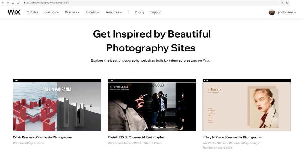 Wix.com Beautiful Photography Sites