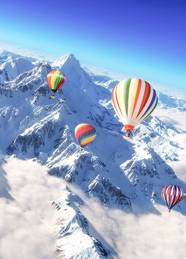 Montgolfière, Montagnes, neige, location de vacances chalet les Cerises